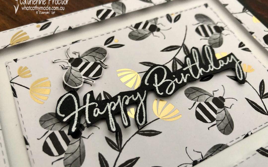 Happy Birthday Card using the Golden Honey Specialty Designer Series Paper