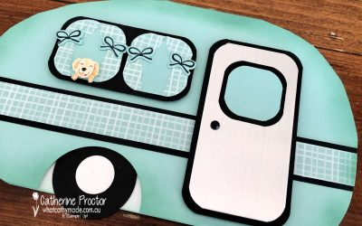 Stampin' Up! Birthday Caravan Card with Sweet Stockings Christmas DSP.
